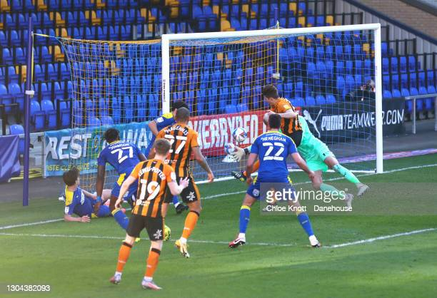 Reece Burke of Hull City scores his teams second goal during the Sky Bet League One match between AFC Wimbledon and Hull City at Plough Lane on...