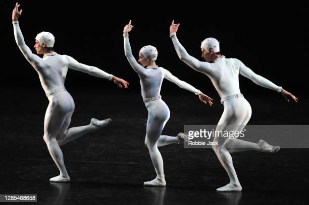 Reece Clarke, Melissa Hamilton and Nicol Edmonds in The Royal Ballet's production of Frederick Ashton's Monotones 11 at The Royal Opera House on...