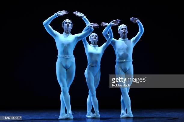 Reece Clarke, Melissa Hamilton and Nicole Edmonds in the Royal Ballet's production of Frederick Ashton's Monotones II as part of the Merce Cunningham...