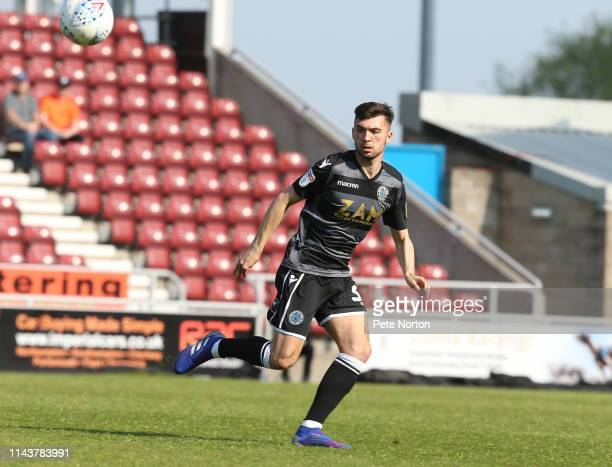 Reece Cole of Macclesfield Town in action during the Sky Bet League Two match between Northampton Town and Macclesfield Town at PTS Academy Stadium...