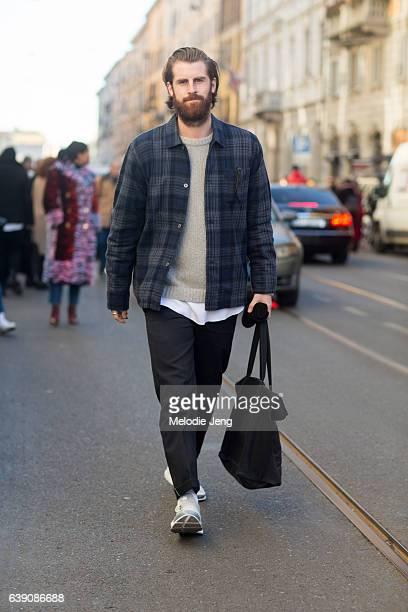 Reece Crisp during Milan Men's Fashion Week Fall/Winter 2017/18 on January 16 2017 in Milan Italy