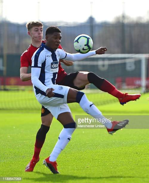 Reece Devine of Manchester United U18s in action during the U18 Premier League match between Manchester United U18s and West Bromwich Albion U18s at...