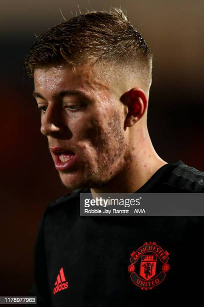 Reece Devine of Manchester United U21 during the Leasingcom Trophy match fixture between Doncaster Rovers and Manchester United U21's at Keepmoat...