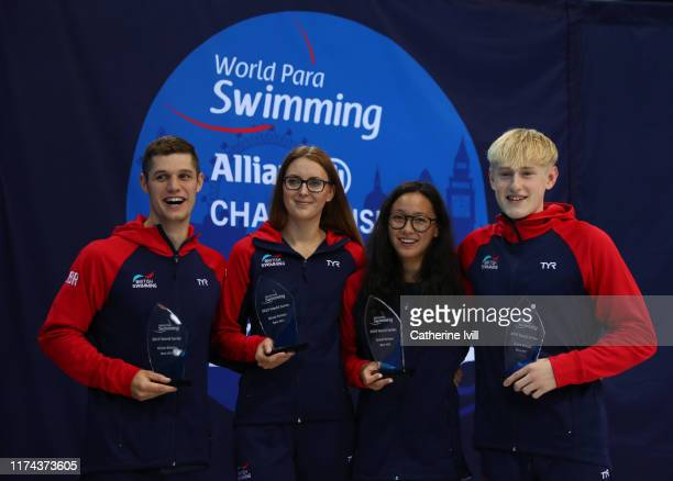 Reece Dunn, Jessica-Jane Applegate, Alice Tai and Jordan Catchpole with the Best NPC award on Day Four of the London 2019 World Para-swimming Allianz...