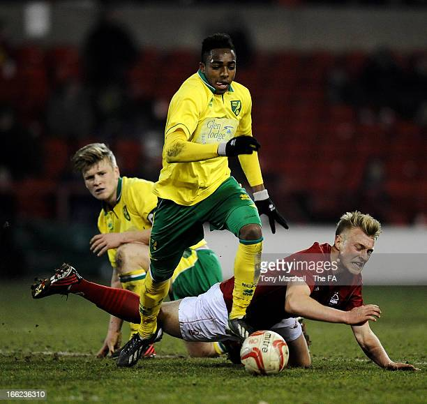 Reece Hall-Johnson of Norwich City and Jack Blake of Nottingham Forest during the FA Youth Cup Semi Final First Leg between Nottingham Forest and...