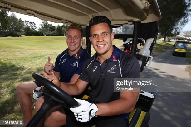 Reece Hodge and Matt Toomua prepare to tee off at Royal Pines Resort on September 12 2018 in Gold Coast Australia