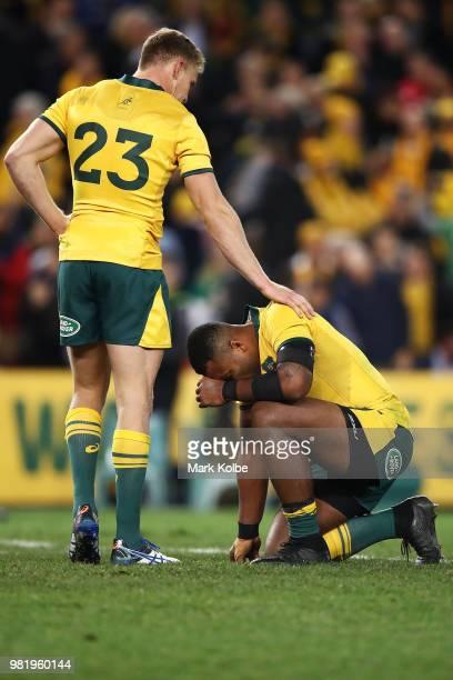 Reece Hodge and Samu Kerevi of the Wallabies look dejected after defeat during the Third International Test match between the Australian Wallabies...