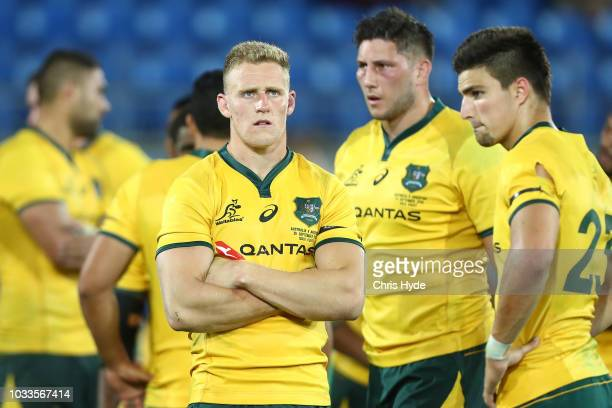 Reece Hodge and the Wallabies look on after losing The Rugby Championship match between the Australian Wallabies and Argentina Pumas at Cbus Super...