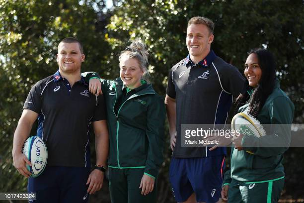 Reece Hodge and Tom Robertson of the Wallabies pose with Samantha Treherne and Mahalia Murphy of the Wallaroos during the Australia Wallabies and...