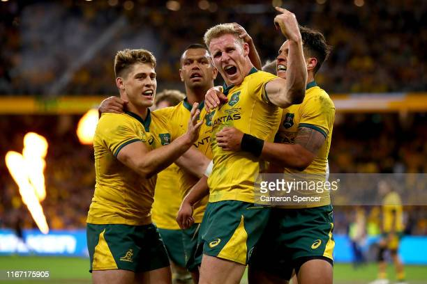 Reece Hodge of Australia celebrates his try during the 2019 Rugby Championship Test Match between the Australian Wallabies and the New Zealand All...