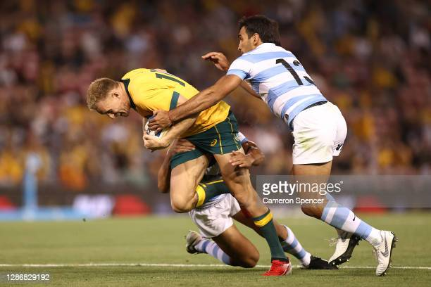 Reece Hodge of Australia is tackled during the 2020 Tri-Nations match between the Australian Wallabies and the Argentina Pumas at McDonald Jones...