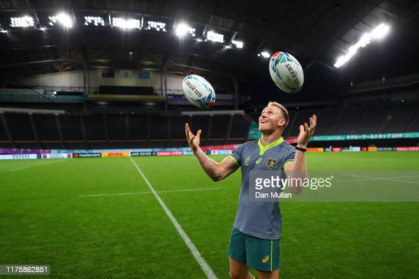 Reece Hodge of Australia tries to juggle rugby balls following the Australian Wallabies Captain's Run ahead of their opening game against Fiji at the...