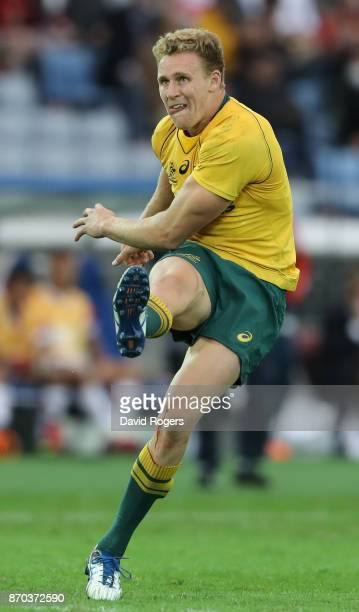 Reece Hodge of Autralia kicks a conversion during the rugby union international match between Japan and Australia Wallabies at Nissan Stadium on...
