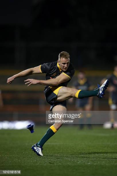 Reece Hodge of Cheika's Choice kicks a goal during the Wallabies Internal trial match between Cheika's Choice and the Australian Super Selection at...