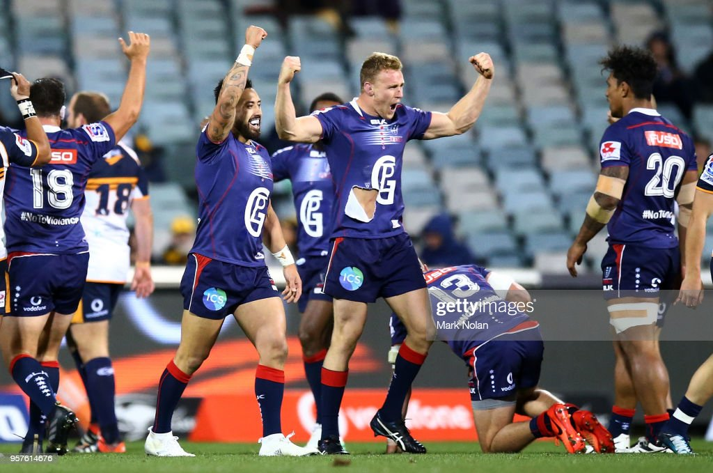 Reece Hodge of the Rebels celebrates with team mates after winning the round 12 Super Rugby match between the Brumbies and the Rebels at GIO Stadium on May 12, 2018 in Canberra, Australia.