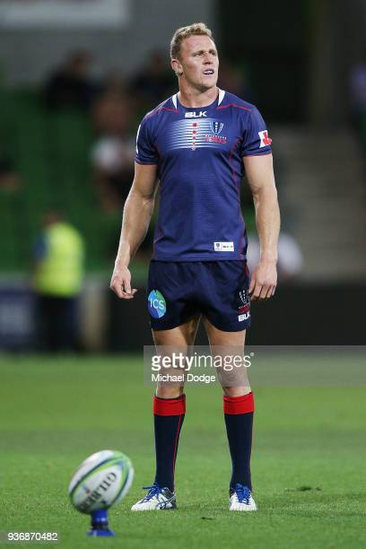 Reece Hodge of the Rebels focuses before he kicks the ball during the round six Super Rugby match between the Melbourne Rebels and the Sharks at AAMI...