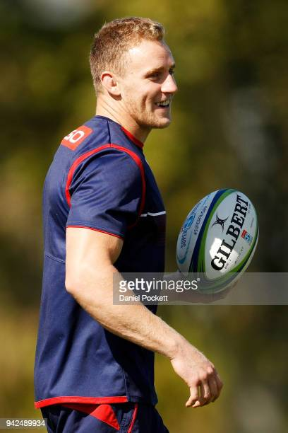 Reece Hodge of the Rebels in action during a Melbourne Rebels Super Rugby training session at Goschs Paddock on April 6 2018 in Melbourne Australia