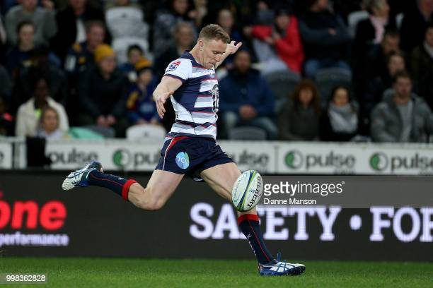 Reece Hodge of the Rebels kicks the ball during the round 19 Super Rugby match between the Highlanders and the Rebels at Forsyth Barr Stadium on July...
