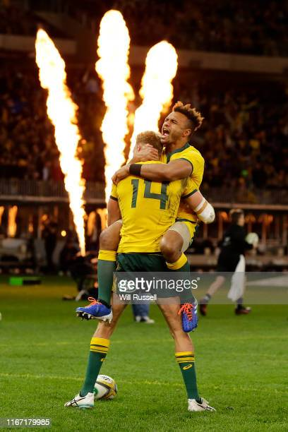 Reece Hodge of the Wallabies celebrates after scoring a try during the 2019 Rugby Championship Test Match between the Australian Wallabies and the...