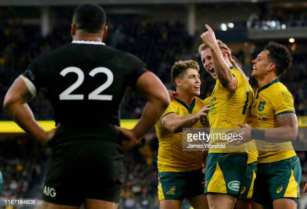 Reece Hodge of the Wallabies celebrates his try during the 2019 Rugby Championship Test Match between the Australian Wallabies and the New Zealand...