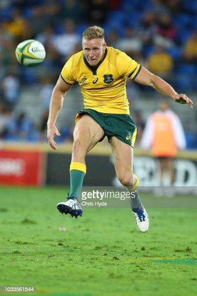 Reece Hodge of the Wallabies kicks during The Rugby Championship match between the Australian Wallabies and Argentina Pumas at Cbus Super Stadium on...