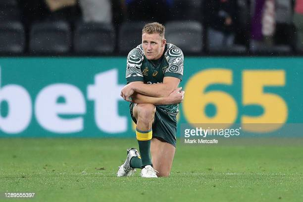 Reece Hodge of the Wallabies looks on at the end of the 2020 Tri-Nations match between the Australian Wallabies and the Argentina Pumas at Bankwest...