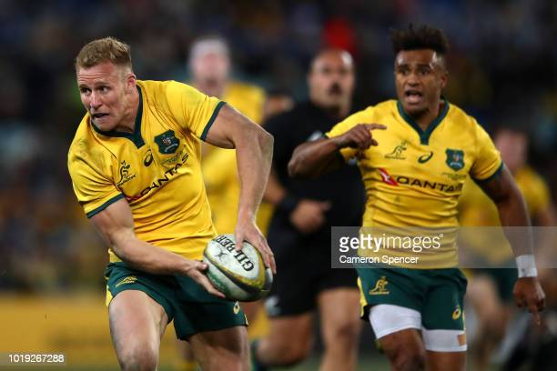 Reece Hodge of the Wallabies runs the ball during The Rugby Championship Bledisloe Cup match between the Australian Wallabies and the New Zealand All...