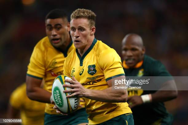 Reece Hodge of the Wallabies runs the ball during The Rugby Championship match between the Australian Wallabies and the South Africa Springboks at...