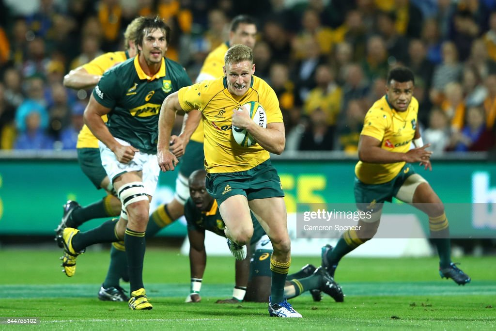 Reece Hodge of the Wallabies runs the ball during The Rugby Championship match between the Australian Wallabies and the South Africa Springboks at nib Stadium on September 9, 2017 in Perth, Australia.