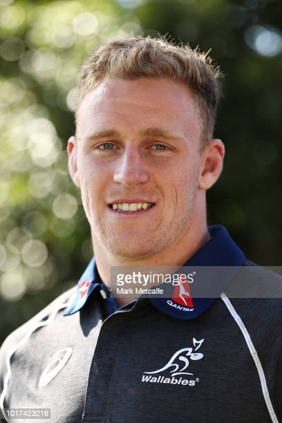 Reece Hodge poses during the Australia Wallabies and Wallaroos squad announcements at ANZ Stadium on August 16 2018 in Sydney Australia