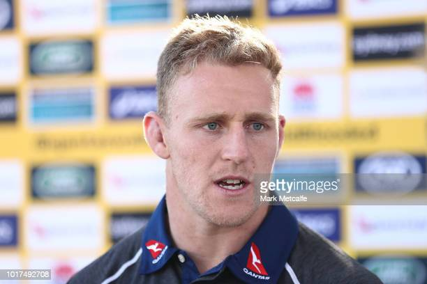 Reece Hodge talks to media during the Australia Wallabies and Wallaroos squad announcements at ANZ Stadium on August 16 2018 in Sydney Australia