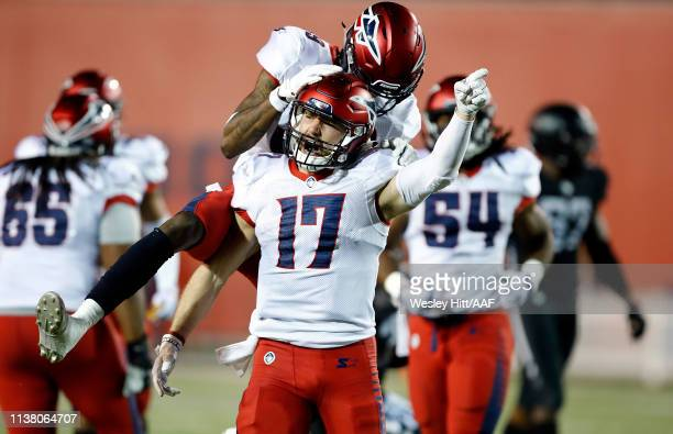 Reece Horn of the Memphis Express celebrates after a long punt return against the Birmingham Iron during the third quarter of their Alliance of...