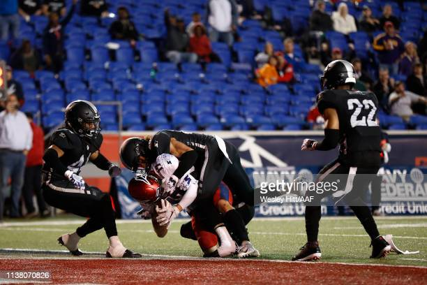Reece Horn of the Memphis Express scores a touchdown against the Birmingham Iron during the fourth quarter of their Alliance of American Football...
