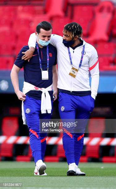 Reece James and Ben Chilwell of Chelsea inspect the pitch prior to the UEFA Champions League Quarter Final Second Leg match between Chelsea FC and FC...