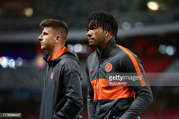 Reece James and Mason Mount of Chelsea inspect the pitch during the UEFA Champions League group H match between Lille OSC and Chelsea FC at Stade...