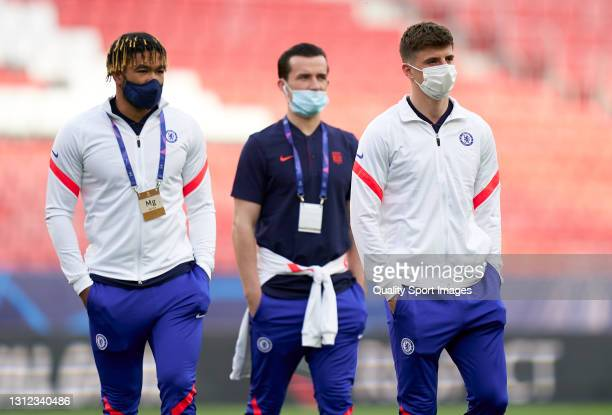 Reece James and Mason Mount of Chelsea inspect the pitch prior to the UEFA Champions League Quarter Final Second Leg match between Chelsea FC and FC...