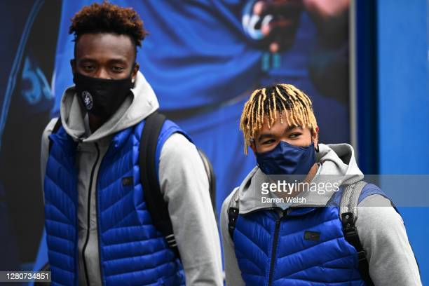Reece James and Tammy Abraham of Chelsea arrive at the stadium prior to the Premier League match between Chelsea and Southampton at Stamford Bridge...