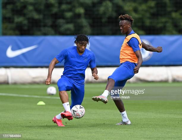 Reece James and Tammy Abraham of Chelsea during a training session at Chelsea Training Ground on July 17 2020 in Cobham England