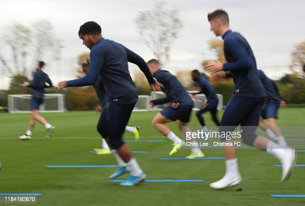 Reece James in action at Chelsea Training Ground on October 29 2019 in Cobham England