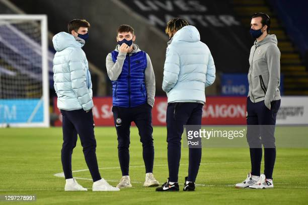 Reece James, Mason Mount Billy Gilmour and Ben Chilwell of Chelsea inspect the pitch prior to the Premier League match between Leicester City and...
