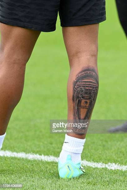 Reece James of Chelsea and his champions league tattoo during a training session at Chelsea Training Ground on August 2, 2021 in Cobham, England.