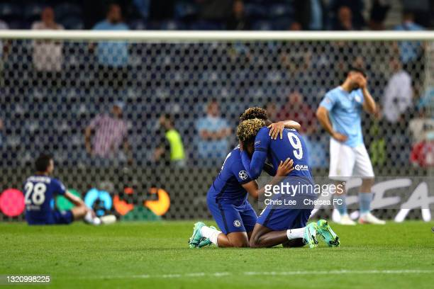 Reece James of Chelsea and Tammy Abraham of Chelsea celebrate winning during the UEFA Champions League Final between Manchester City and Chelsea FC...