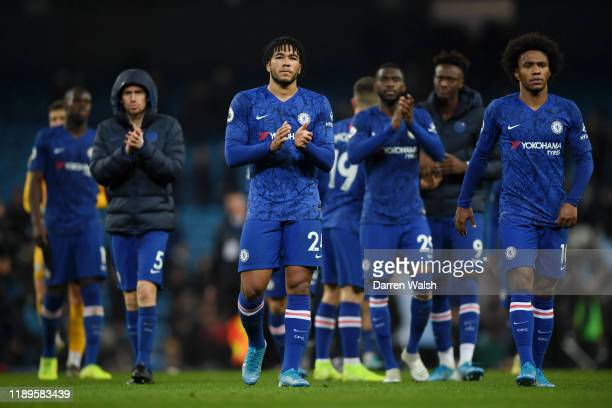 Reece James of Chelsea applauds fans after during the Premier League match between Manchester City and Chelsea FC at Etihad Stadium on November 23...