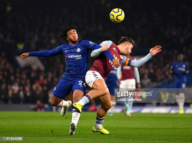 Reece James of Chelsea battles for possession with Jack Grealish of Aston Villa during the Premier League match between Chelsea FC and Aston Villa at...