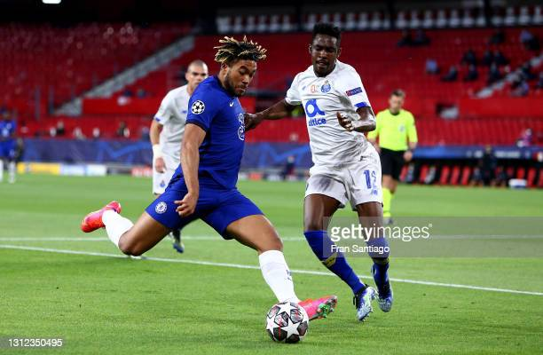 Reece James of Chelsea battles for possession with Zaidu Sanusi of Porto during the UEFA Champions League Quarter Final Second Leg match between...