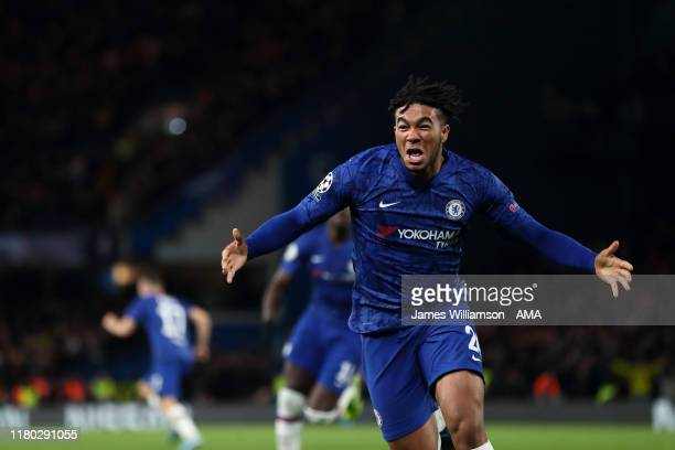 Reece James of Chelsea celebrates after scoring a goal to make it 44 during the UEFA Champions League group H match between Chelsea FC and AFC Ajax...