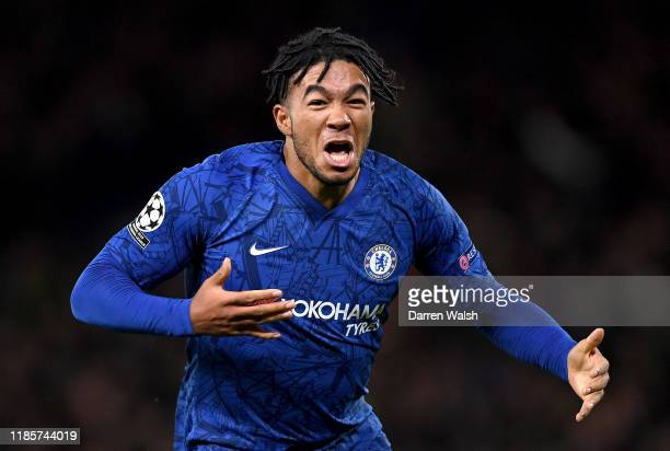 Reece James of Chelsea celebrates after scoring his team's fourth goal during the UEFA Champions League group H match between Chelsea FC and AFC Ajax...