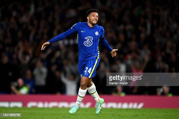 Reece James of Chelsea celebrates after scoring the winning penalty in the penalty shoot out during the Carabao Cup Third Round match between Chelsea...