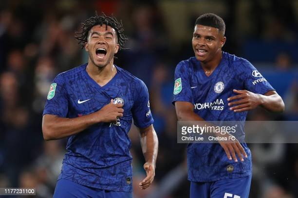 Reece James of Chelsea celebrates scoring with Tino Anjorin during the Carabao Cup Third Round match between Chelsea and Grimsby Town at Stamford...