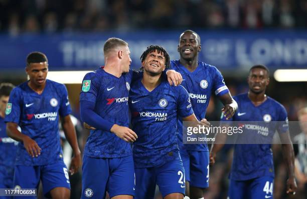 Reece James of Chelsea celebrates with Ross Barkley of Chelsea after he scores his sides 5th goal during the Carabao Cup Third Round match between...